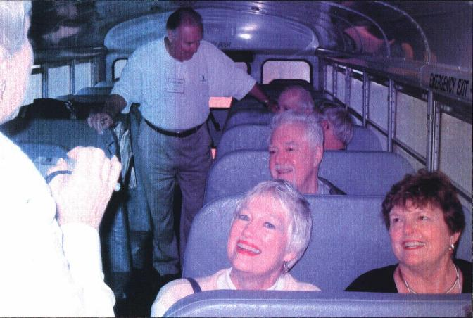On the bus...Carolyne and Beve with Ronnie behind