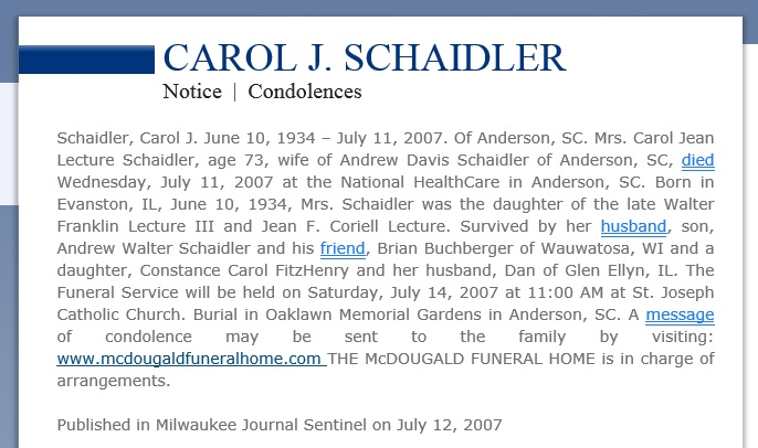 Carol Jean Lecture Schaidler Obituary dated 2007